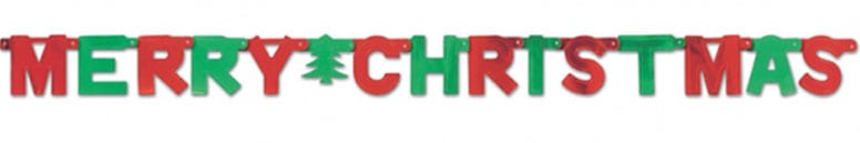 Red and Green Merry Christmas Letter Banner - 5 Ft / 1.5m