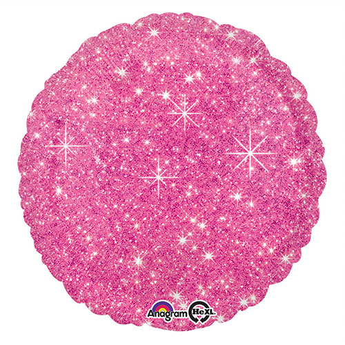 Faux Sparkle Hot Pink Ronde Folie Heliumballon 43Cm / 17 In